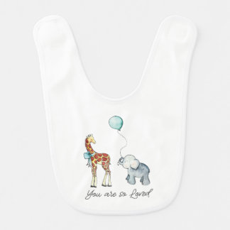 Adorable Giraffe and Elephant You Are So Loved Bib