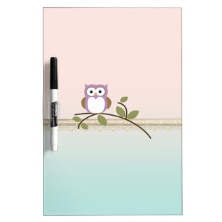 Adorable Girly Cute Owl Dry Erase Board