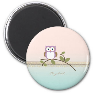 Adorable Girly Cute Owl,Personalized 2 Inch Round Magnet