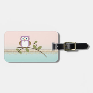 Adorable Girly Cute Owl,Personalized Luggage Tag