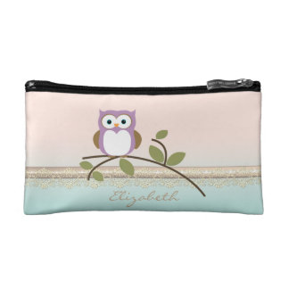 Adorable Girly Cute Owl,Personalized Makeup Bag