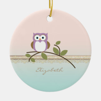 Adorable Girly Cute Owl,Personalized Round Ceramic Ornament