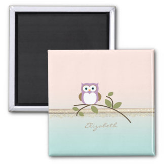 Adorable Girly Cute Owl,Personalized Square Magnet