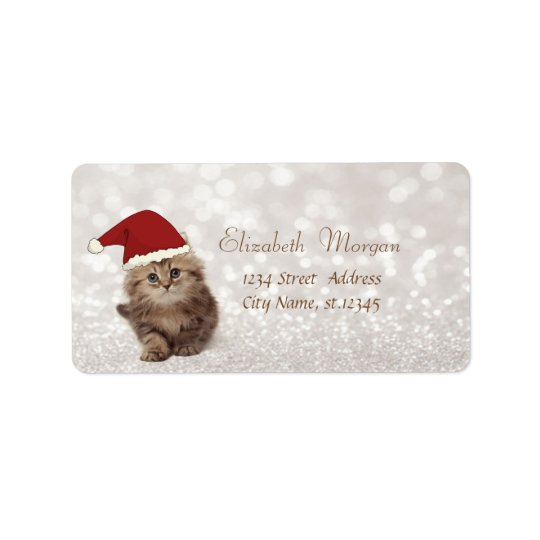 Adorable Glittery Bokeh , Cat With Santa Hat Label