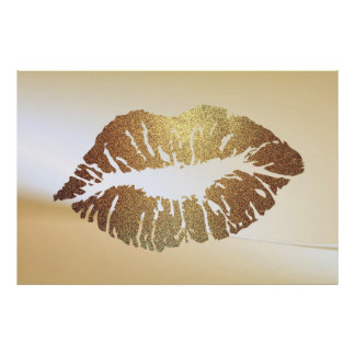 Adorable Glittery  Lips,Kiss Poster