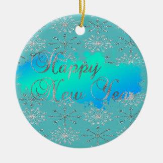 Adorable Glittery Silver Snowflakes Ceramic Ornament