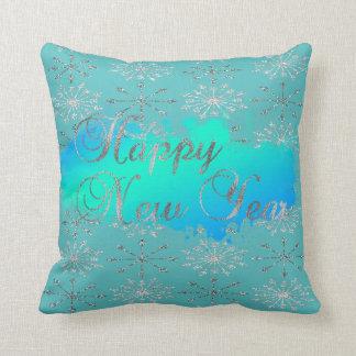 Adorable Glittery Silver Snowflakes Throw Pillow