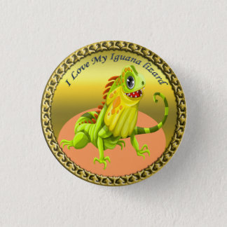Adorable Gold green happy nature iguana lizard 1 Inch Round Button