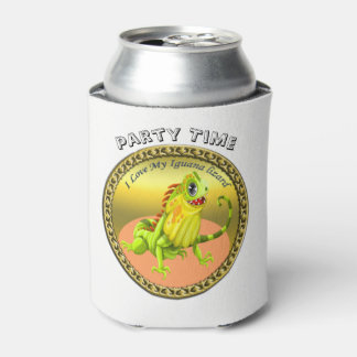 Adorable Gold green happy nature iguana lizard Can Cooler