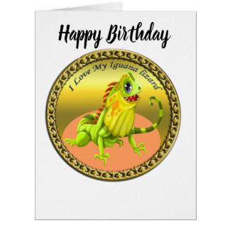 Adorable Gold green happy nature iguana lizard Card