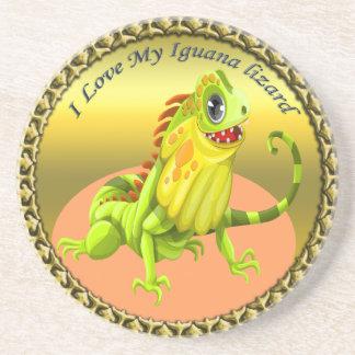 Adorable Gold green happy nature iguana lizard Coaster