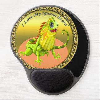 Adorable Gold green happy nature iguana lizard Gel Mouse Pad