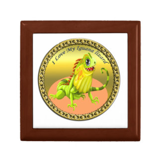 Adorable Gold green happy nature iguana lizard Gift Box