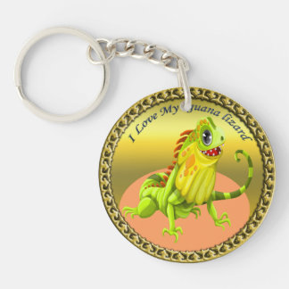 Adorable Gold green happy nature iguana lizard Keychain