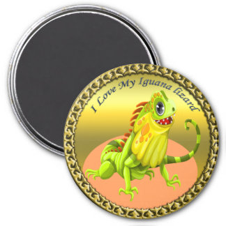 Adorable Gold green happy nature iguana lizard Magnet