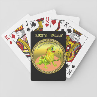Adorable Gold green happy nature iguana lizard Playing Cards