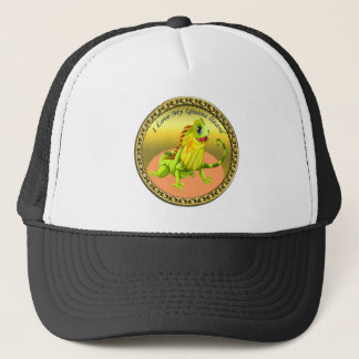 Adorable Gold green happy nature iguana lizard Trucker Hat