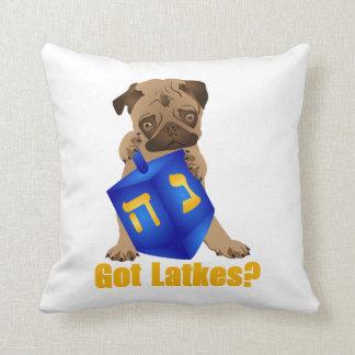 Adorable Got Latkes? Hankukkah Pug Puppy & Dreidel Throw Pillow