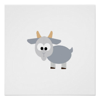 Adorable gray goat perfect poster
