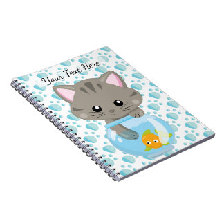 Adorable Gray Tabby Kitten with Fish Bowl Notebooks