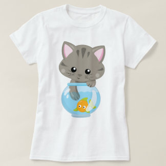 Adorable Gray Tabby Kitten with Fish Bowl T-Shirt