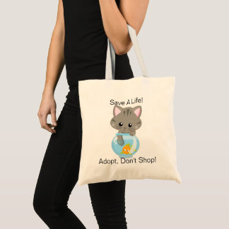 Adorable Gray Tabby Kitten with Fish Bowl Tote Bag