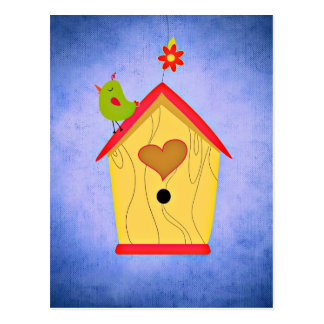 Adorable Green Bird Atop Birdhouse Postcard