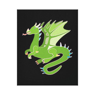 Adorable Green Dragon Canvas Print
