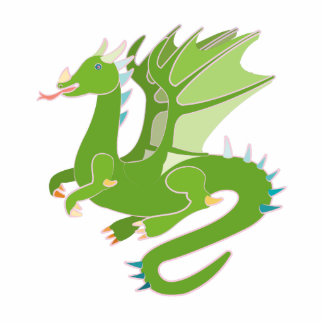 Adorable Green Dragon Standing Photo Sculpture