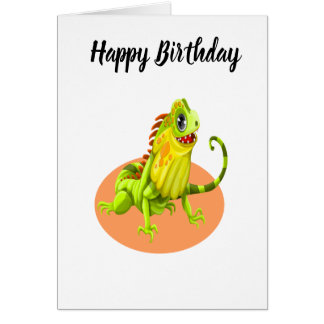 Adorable green happy nature iguana lizard card