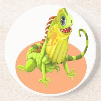 Adorable green happy nature iguana lizard coaster