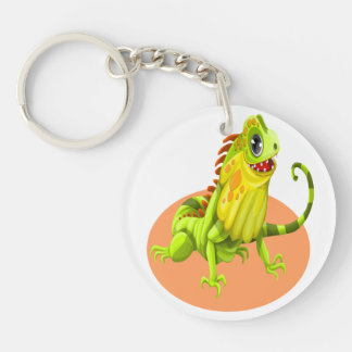 Adorable green happy nature iguana lizard keychain