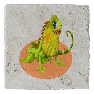 Adorable green happy nature iguana lizard trivet