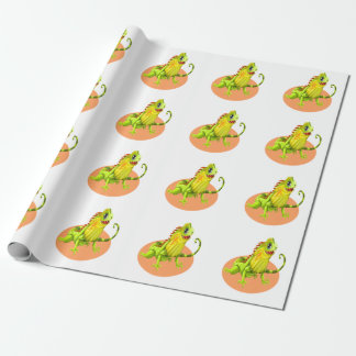 Adorable green happy nature iguana lizard wrapping paper