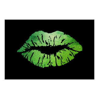 Adorable Green Lips,Kiss Poster