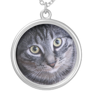 Adorable Grey Cat Face Silver Plated Necklace