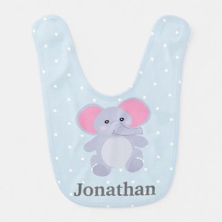 Adorable Grey Elephant baby blue White Polkadots Bib