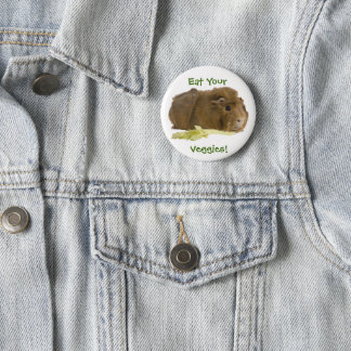 Adorable Guinea Pig Eating Celery Photography 2 Inch Round Button