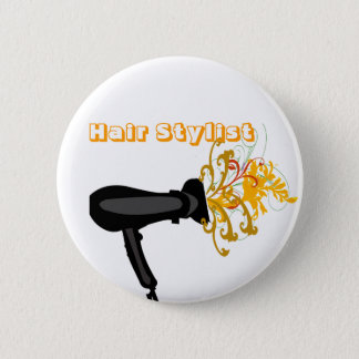 Adorable Hair Dryer  Flowers Bloosoms 2 Inch Round Button