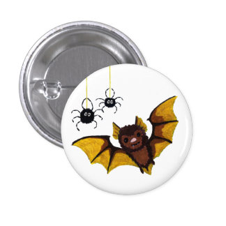 Adorable Halloween Brown Bat with 2 Fluffy Spiders 1 Inch Round Button