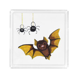 Adorable Halloween Brown Bat with 2 Fluffy Spiders Acrylic Tray