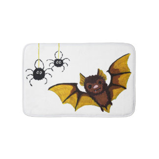 Adorable Halloween Brown Bat with 2 Fluffy Spiders Bath Mat