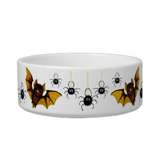 Adorable Halloween Brown Bat with 2 Fluffy Spiders Cat Water Bowls