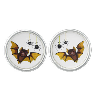 Adorable Halloween Brown Bat with 2 Fluffy Spiders Cufflinks
