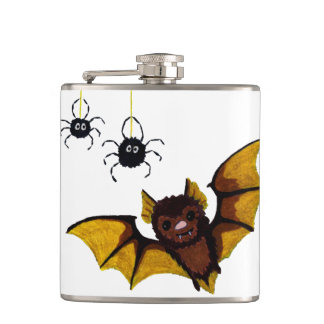 Adorable Halloween Brown Bat with 2 Fluffy Spiders Hip Flask