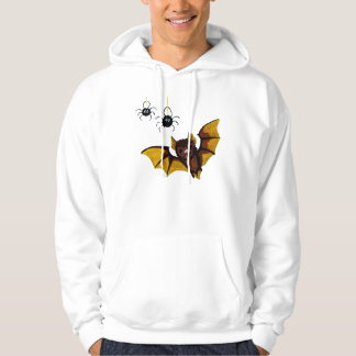 Adorable Halloween Brown Bat with 2 Fluffy Spiders Hoodie