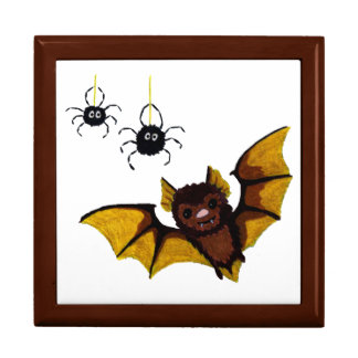 Adorable Halloween Brown Bat with 2 Fluffy Spiders Jewelry Box