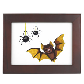 Adorable Halloween Brown Bat with 2 Fluffy Spiders Keepsake Box