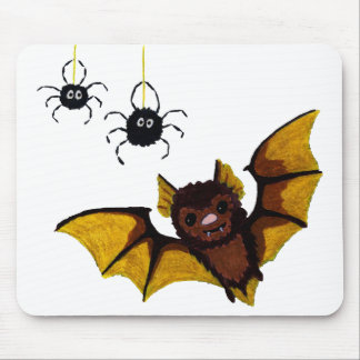 Adorable Halloween Brown Bat with 2 Fluffy Spiders Mouse Pad