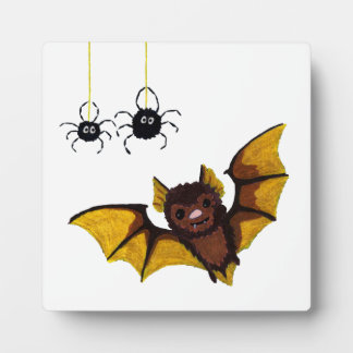 Adorable Halloween Brown Bat with 2 Fluffy Spiders Plaque